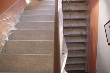 Renovace teracového schodiště v průběhu prací